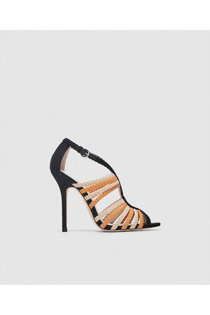 Zara HIGH-HEEL SANDALS WITH CONTRASTING STRAPS