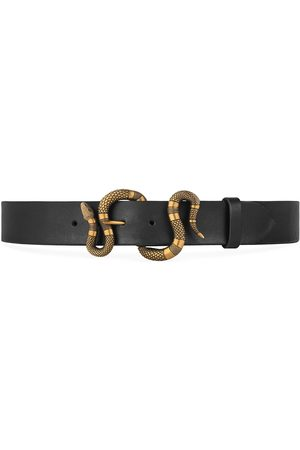 Gucci Miehet Vyöt - Leather belt with snake buckle