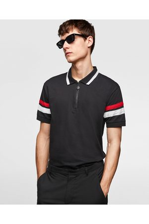 Zara ZIP POLO SHIRT WITH CONTRASTING STRIPES