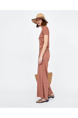 Zara RIBBED WIDE-LEG TROUSERS