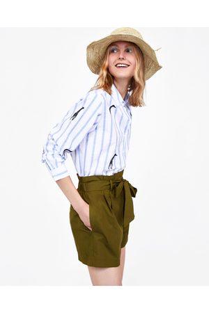 Zara PAPERBAG WAIST BERMUDA SHORTS