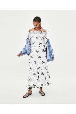 Zara EMBROIDERED OFF-THE-SHOULDER DRESS