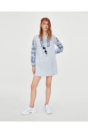 Zara EMBROIDERED TUNIC DRESS