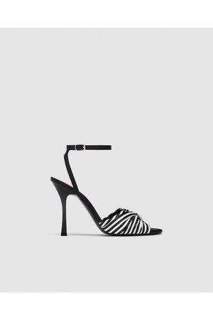 Zara STRIPED HIGH-HEEL SANDALS
