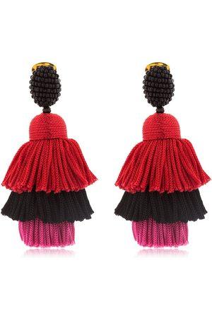 Oscar de la Renta Silk Tiered Tassel Clip-on Earrings