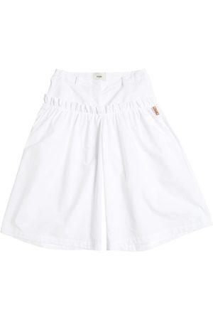 Fendi Cotton Poplin Wide Pants W/ Ruffle