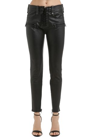 UNRAVEL Skinny Lace Plonge Leather Pants