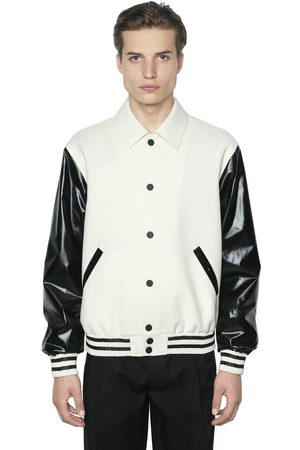 Calvin Klein Faux Leather & Wool Bomber Jacket