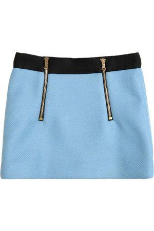 Milly Double Face Wool Blend Mini Skirt W/zips