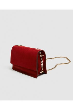 Zara SUEDE CROSSBODY BAG WITH GOLD CHAIN