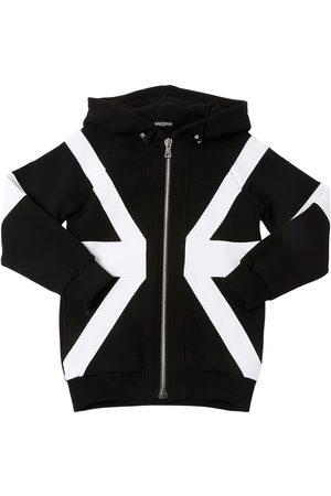 Balmain Union Jack Zip Cotton Sweatshirt Hoodie