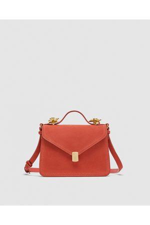 Zara LEATHER CROSSBODY BAG WITH METAL DETAILS