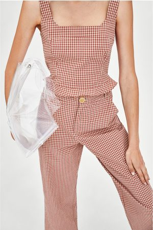 Zara GINGHAM CHECK TOP