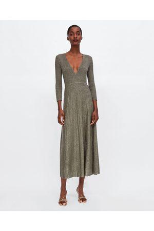 Zara METALLIC THREAD KNIT DRESS