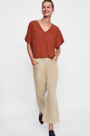 Zara TEXTURED CROPPED T-SHIRT