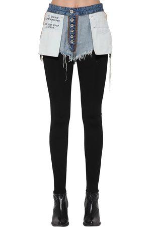 UNRAVEL Mixed Viscose Leggings W/ Denim Shorts