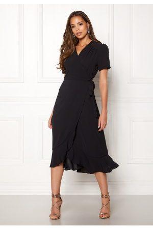John Zack Naiset Kesämekot - Short Sleeve Wrap Dress Black M (UK12)