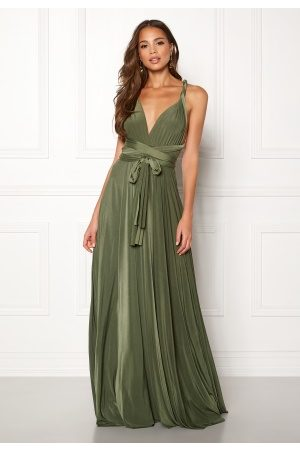 Goddiva Multi Tie Maxi Dress Olive Green M (UK12)