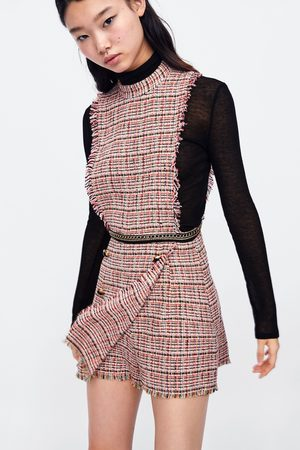 Zara TWEED PLAYSUIT WITH CHAIN TRIMS