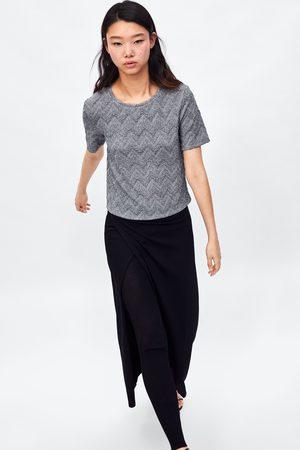 Zara METALLIC THREAD TEXTURED T-SHIRT