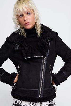 Zara CONTRASTING FAUX SUEDE JACKET