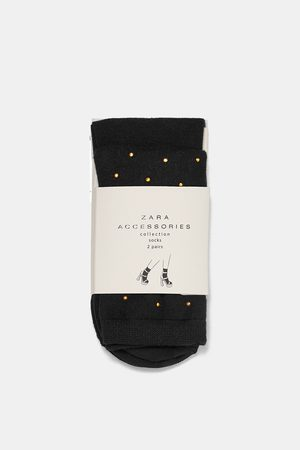 Zara PACK OF 2 PAIRS OF BASIC AND STUDDED SOCKS