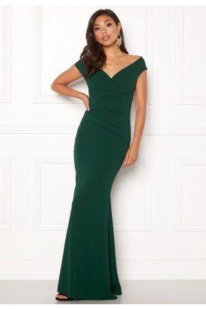 Goddiva Naiset Myötäilevät Mekot - Bardot Pleat Maxi Dress Emerald XS (UK8)