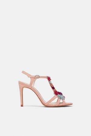 Zara HIGH-HEEL SANDALS WITH FLORAL DETAILS