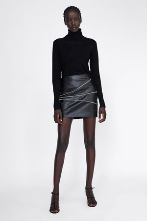 Zara FAUX LEATHER SKIRT WITH ZIPS