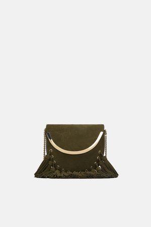 Zara FRINGED METALLIC CROSSBODY BAG