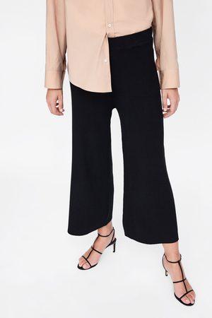 Zara Naiset Culottes-housut - RIBBED KNIT CULOTTES