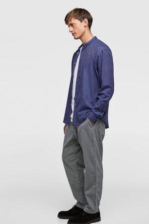 Zara STAND-UP COLLAR TWILL SHIRT