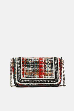 Zara TWEED CROSSBODY BAG WITH CHAIN DETAIL