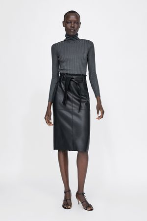 Zara FAUX LEATHER SKIRT WITH TIE BELT