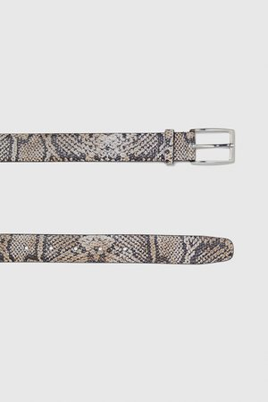 Zara LEATHER EMBOSSED SNAKESKIN PRINT BELT