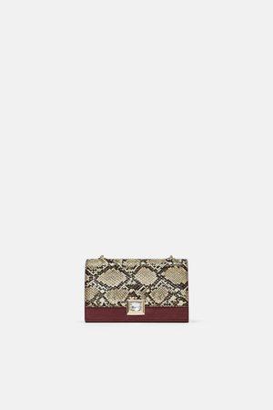 Zara CONTRAST SNAKESKIN PRINT CROSSBODY BAG