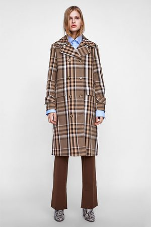 Zara CHECKED DOUBLE-BREASTED TRENCH COAT