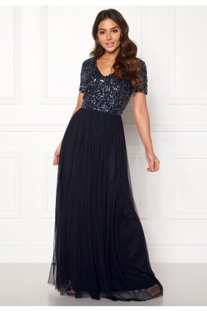 AngelEye Short Sleeve Sequin Dress Navy XS (UK8)