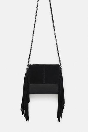 Zara LEATHER CROSSBODY BAG WITH FRINGING