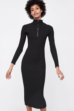 Zara LONG RIBBED DRESS