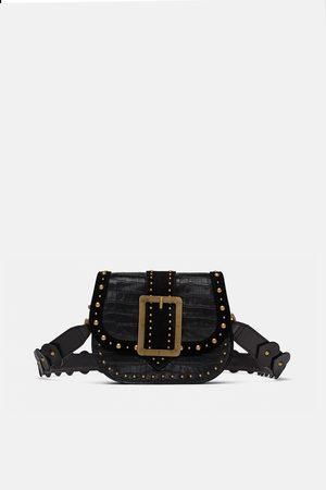 Zara MOCK CROC LEATHER CROSSBODY BAG WITH BUCKLE