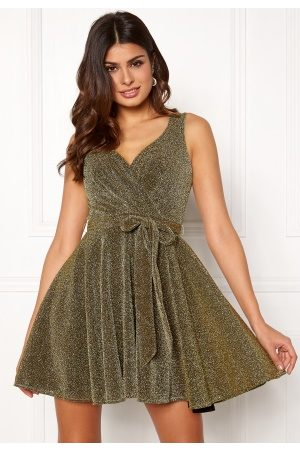 Goddiva Naiset Rennot Mekot - Lurex Skater Dress Gold XS (UK8)