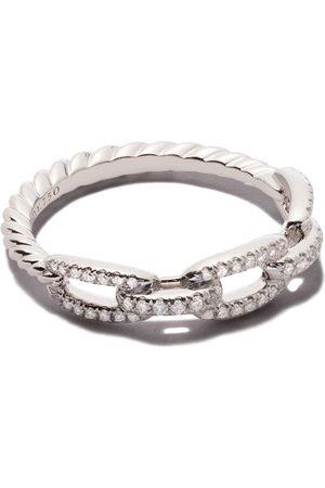 David Yurman Naiset Sormukset - 18kt white gold Stax single row pavé diamond chain link ring