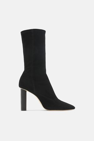 Zara STRETCH SUEDE HEELED ANKLE BOOTS
