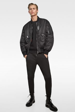 Zara JOGGING TROUSERS WITH FAUX LEATHER TRIMS