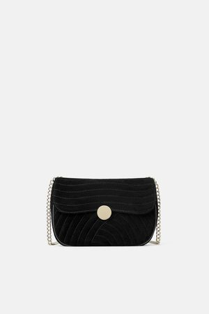Zara QUILTED LEATHER CROSSBODY BAG