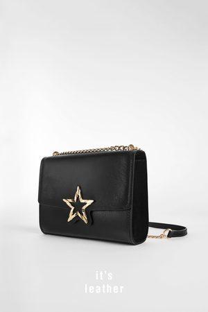 Zara LEATHER CROSSBODY BAG WITH STAR DETAIL