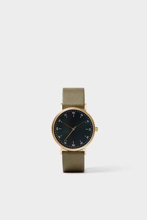 Zara Minimal watch with green leather strap