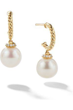 David Yurman Naiset Korvarenkaat - 18kt yellow gold Solari drop pearl and diamond hoop earrings