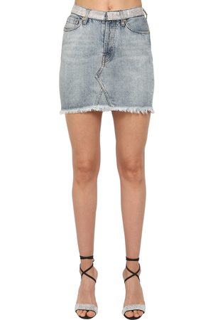 ALEXANDRE VAUTHIER Crystal Embellished Cotton Denim Skirt